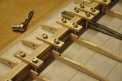 Closeup of spar clamping on the Wing Jig.